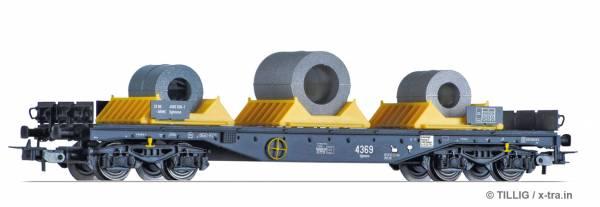 TILLIG 76753. Flachwagen Sgmmns 4505 der On Rail GmbH, mit Beladung.