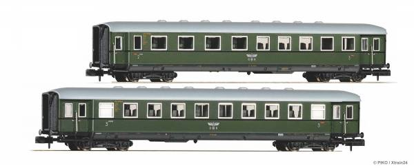 PIKO 40623 - 2er Set Schürzen-Eilzugwagen 2./3. Klasse und 3. Klasse der DRG | Bild 1