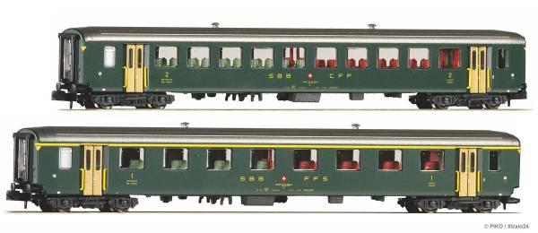 PIKO 94398 - 2er Set EW1 Wagen 1.Klasse und 2. Klasse der SBB, alte Schrift | Bild 1
