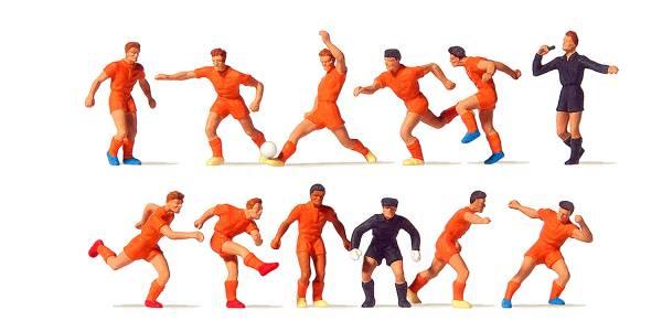 Preiser 10761 - Fussballmannschaft, orange Trikots und Hosen