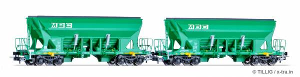 TILLIG 70036. Güterwagenset der MBC, bestehend aus zwei Selbstentladewagen Faccns