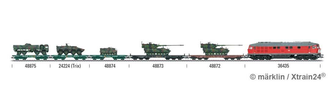 Zugbildung für Märklin 48874 - H0 | Schwerlastwagen Rlmmps der BW, mit M 113 - 3L