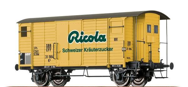 """BRAWA 47862 - Gedeckter Güterwagen """"Ricola"""" Bauart K2 der SBB"""