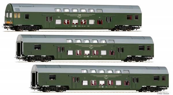 ᐅ PIKO 57685 - 3er Set Doppelstockwagen DBmue und DBmqe der DR