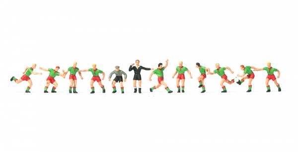 Preiser 10757 - Fussballmannschaft, grüne Trikots, rote Hosen