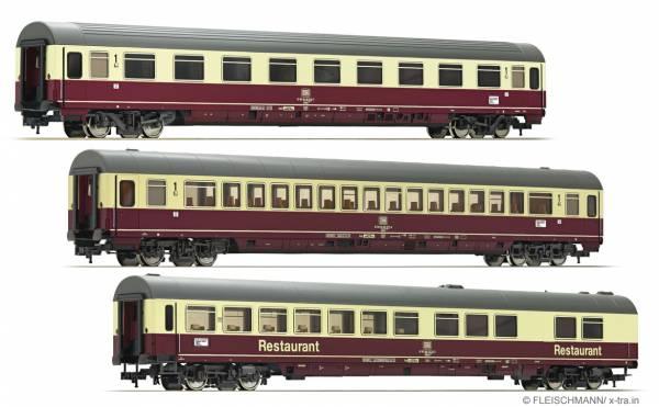 """FLEISCHMANN 481806 - 3-tlg. Set Schnellzugwagen IC """"Riemenschneider"""" (Teil 1) der DB"""