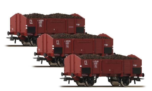 Roco 76199 - 3-tlg. Set: Offene Güterwagen Om der FS