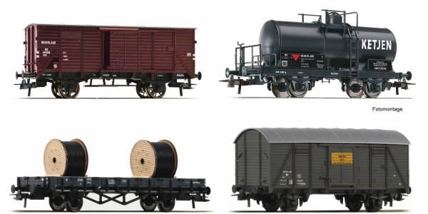 Roco 76134 - 4-teiliges Set mit Güterwagen der NS