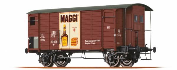 """Gedeckter Güterwagen K2 """"Maggi"""" der SBB. BRAWA 47857"""