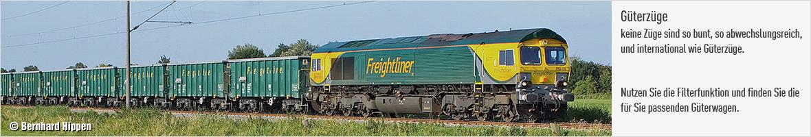 Güterwagen - gezogen von einer Freightliner Lokomotive