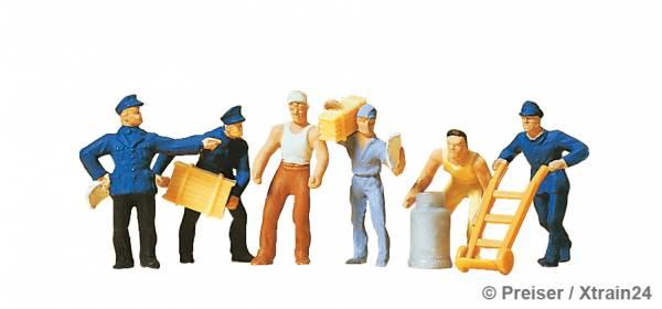 Preiser 14016 - Güterbodenpersonal, sechs Figuren