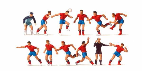 Preiser 10760 - Fussballmannschaft, rote Trikots, blaue Hosen