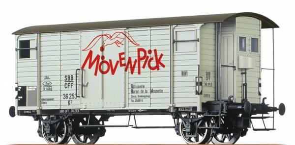 """BRAWA 67858 - Gedeckter Güterwagen Bauart K2 """"Mövenpick"""" der SBB"""