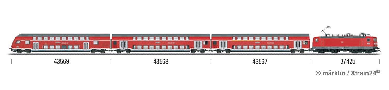 Zugbildung für Märklin 43569 - H0   Doppelstock-Steuerwagen DBbzfa 761, 2. Kl., der DB AG - 3L