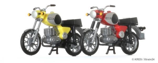 KRES - 2er-Set Motorrad MZ TS 250 gelb und rot | H0