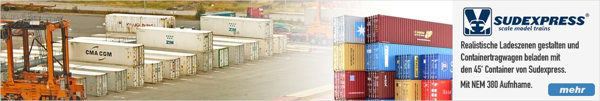 45' Container für Tragwagen und zur Ausgestaltung von Sudexpress