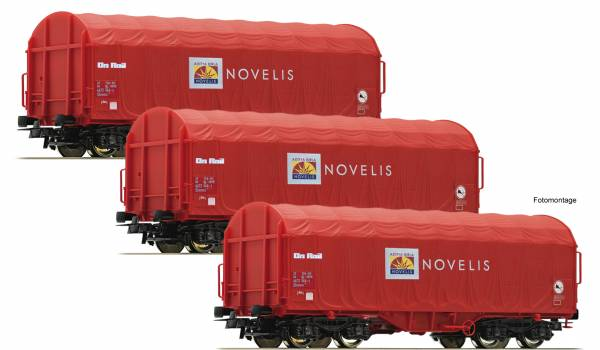 """Roco 76095 - Set mit Schiebeplanenwagen, Bauart Shimms """"Novelis"""""""