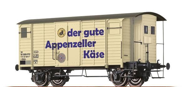 """BRAWA 47860 - Gedeckter Güterwagen """"Appenzeller Käse"""" Bauart Gklm der SBB"""