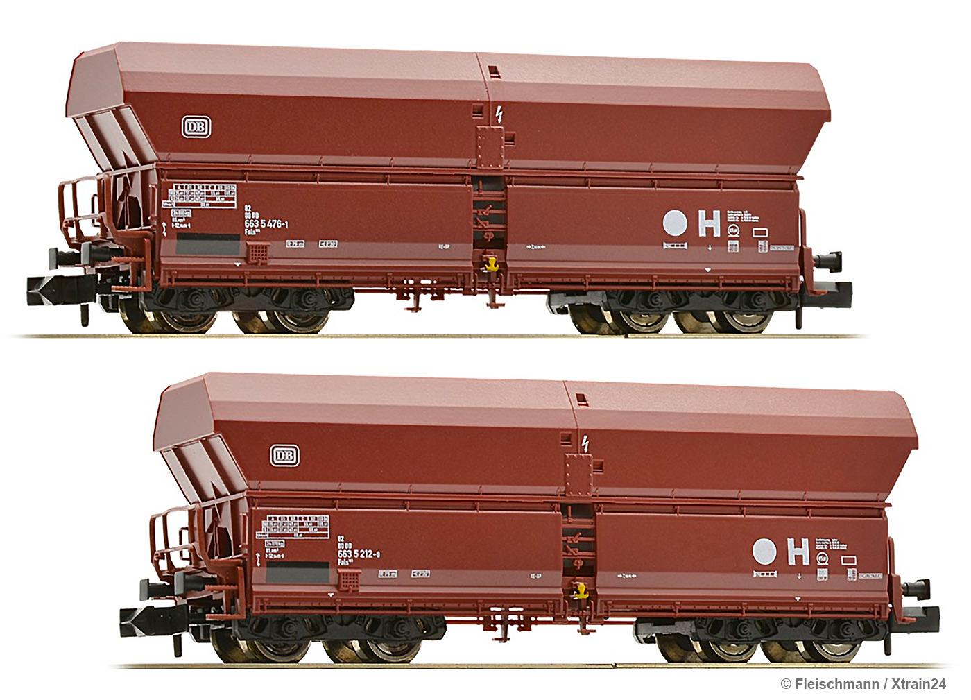 Spur N Set Großraum-Selbstentladewagen Falns183 DB Fleischmann 852416-2-tlg
