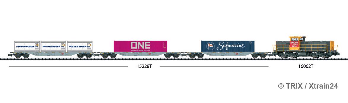 Zugbildung für TRIX - 3-tlg. Set Containertragwagen Bauart Sgns der AAE