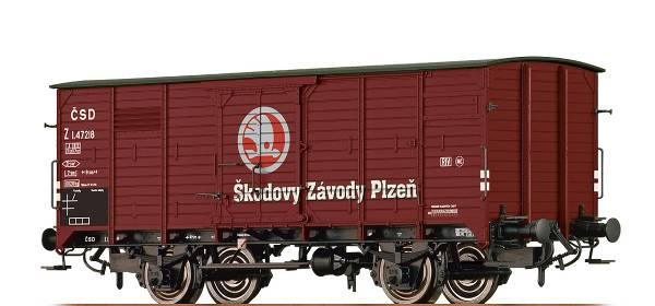 """BRAWA 49744 - Gedeckter Güterwagen Bauart Z """"Skoda"""" der CSD"""