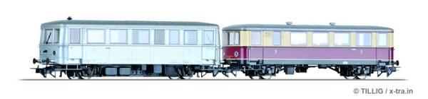 Triebwagen Baureihe CvT135 mit Beiwagen CPostv-35 der DB. TILLIG 70020