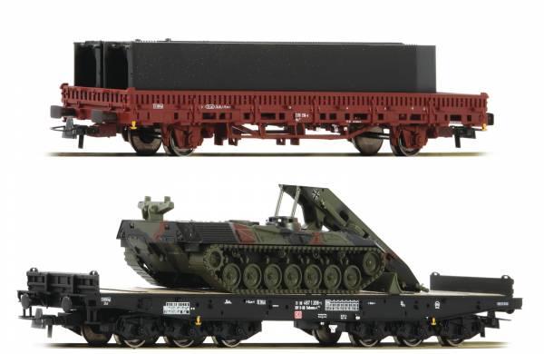 Roco 76129 - 2-teiliges Set: Schwerlastwagen + Rungenwagen der DB AG