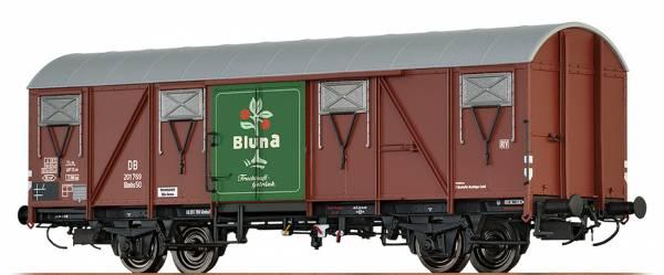 """BRAWA 67809 - Gedeckter Güterwagen Bauart Glmhs 50 """"Bluna"""" der DB"""