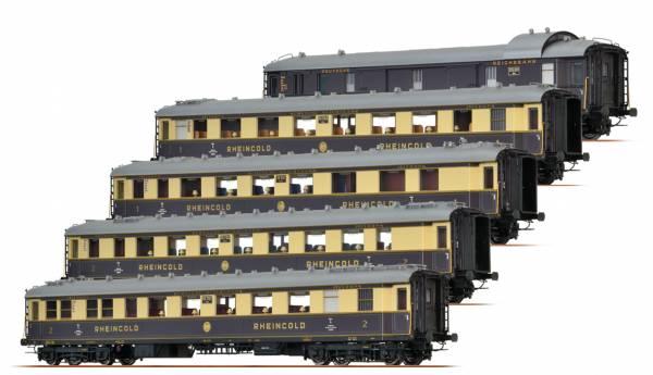 BRAWA 45916 - Rheingold Schnellzugwagen-Set der DRG, 5er-Einheit